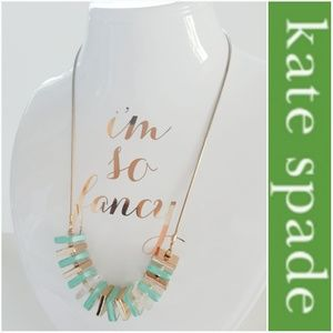NWOT KATE SPADE GOLD TURQUOISE & LUCITE NECKLACE